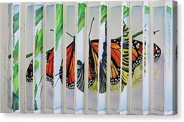 3 D Caterpillar And Butterfly Canvas Print