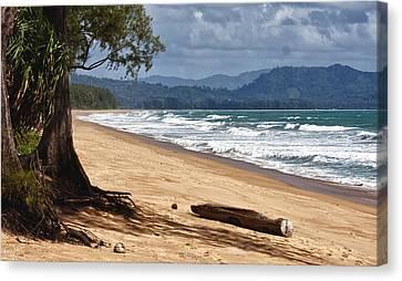 Deserted Beach In Phuket In Thailand Canvas Print by Zoe Ferrie