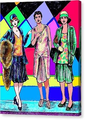 3 Flappers Color Canvas Print