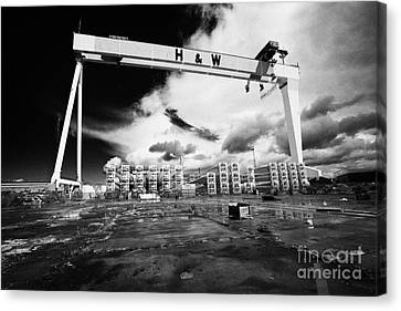 Giant Harland And Wolff Crane Goliath At Shipyard Titanic Quarter Queens Island Belfast Canvas Print by Joe Fox