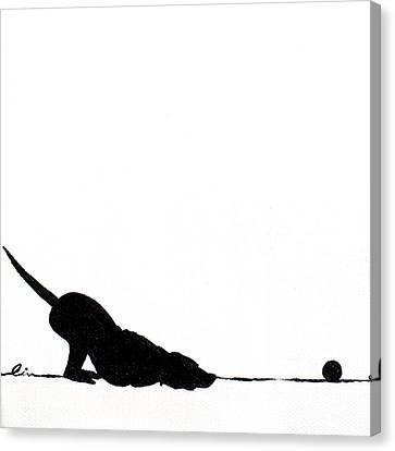 Little Dogs Doing Tricks On Little Canvas Canvas Print by Cindy D Chinn