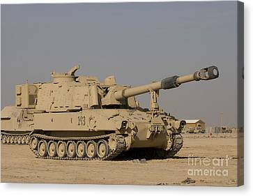 M109 Paladin, A Self-propelled 155mm Canvas Print by Terry Moore