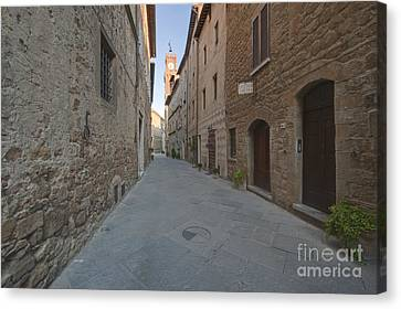Medieval Street And Clock Tower Canvas Print by Rob Tilley