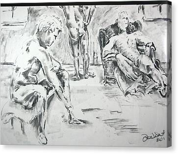 Canvas Print featuring the drawing 3 Men Relaxing by Brian Sereda