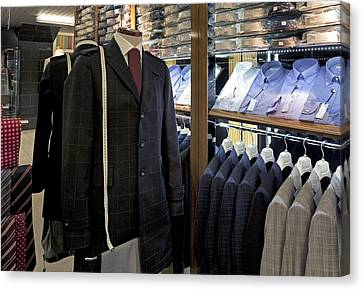 Menswear On Display At A Clothes Shop Canvas Print by Jaak Nilson