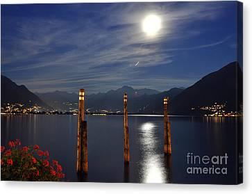 Sea Moon Full Moon Canvas Print - Moon Light Over An Alpine Lake by Mats Silvan