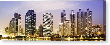 Night Scenes Of City Canvas Print by Setsiri Silapasuwanchai