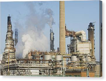 Oil Refinery Buildings At Grangemouth Canvas Print by Iain  Sarjeant