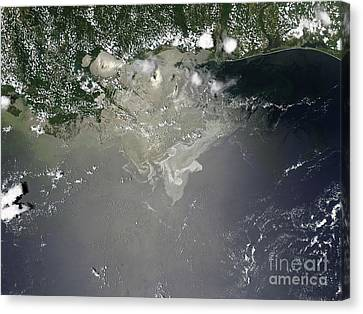 Oil Slick In The Gulf Of Mexico Canvas Print by Stocktrek Images