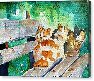 3 On A Bench Canvas Print by P Maure Bausch