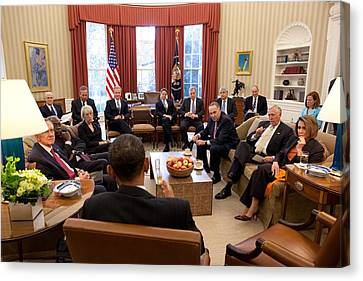 President Barack Obama Meets Canvas Print by Everett