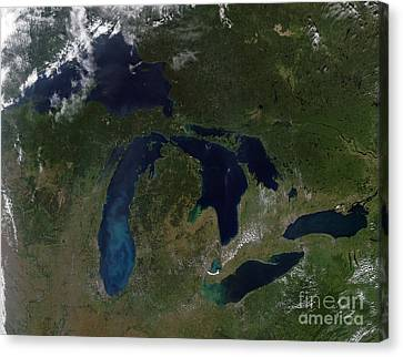 Satellite View Of The Great Lakes Canvas Print by Stocktrek Images