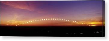 Time-lapse Image Of A Suntrail Canvas Print by Pekka Parviainen
