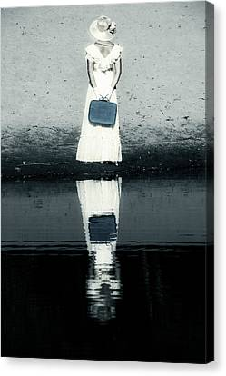Gown Canvas Print - Woman With Suitcase by Joana Kruse