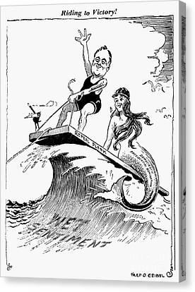 Democrats Canvas Print - Franklin D. Roosevelt by Granger