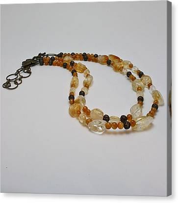 3514 Citrine Double Strand Necklace Canvas Print by Teresa Mucha