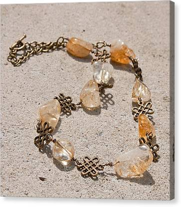 3591 Citrine Nugget And Antiqued Brass Necklace Canvas Print by Teresa Mucha
