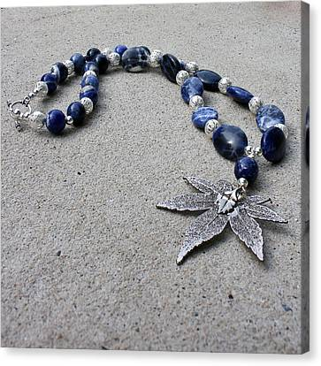 3593 Sodalite And Silver Necklace With Japanese Maple Leaf Pendant  Canvas Print by Teresa Mucha