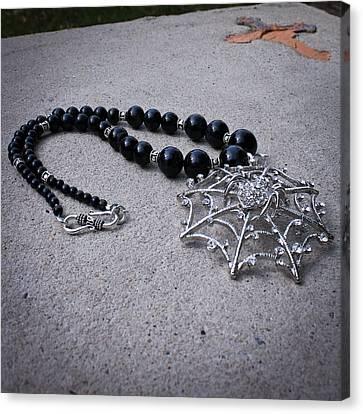3596 Spiderweb Rhinestone Pendant Necklace Canvas Print by Teresa Mucha