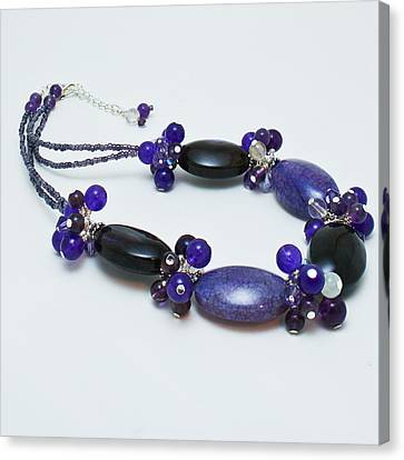 3598 Purple Cracked Agate Necklace Canvas Print by Teresa Mucha