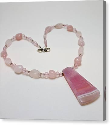 3604 Rose Quartz And Agate Pendant Necklace Canvas Print by Teresa Mucha