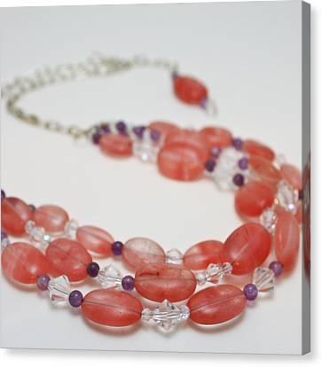 3606 Cherry Quartz Triple Strand Necklace Canvas Print by Teresa Mucha