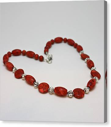 3612 Red Coral Necklace Canvas Print by Teresa Mucha