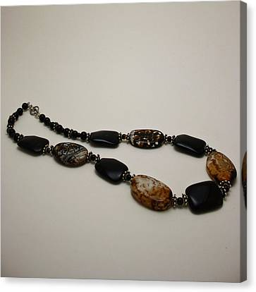 3617 Crackle Agate And Onyx Necklace Canvas Print by Teresa Mucha