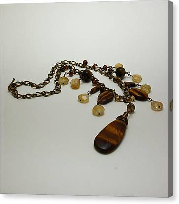 3618 Tigereye And Citrine Necklace Canvas Print by Teresa Mucha
