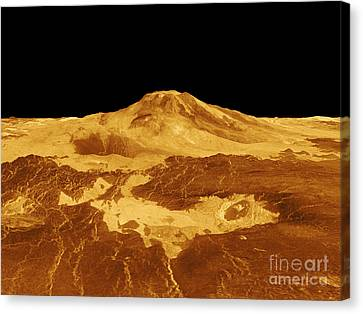 3d Perspective View Of Maat Mons Canvas Print by Stocktrek Images
