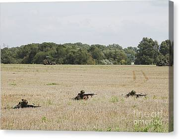 Belgian Paratroopers On Guard Canvas Print by Luc De Jaeger
