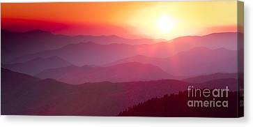 Great Smokie Mountains Sunset Canvas Print by Dustin K Ryan
