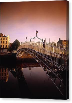 Dublin Building Colors Canvas Print - Hapenny Bridge, River Liffey, Dublin by The Irish Image Collection