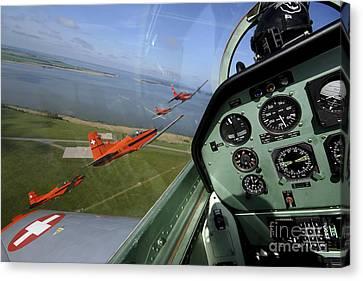 Inside The Pilatus Pc-7 Turboprop Canvas Print by Daniel Karlsson