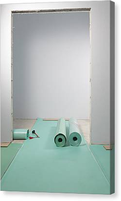 Lino Canvas Print - Laying A Floor. Rolls Of Underlay Or by Magomed Magomedagaev