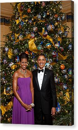 Michelle Obama Canvas Print - President And Michelle Obama Pose by Everett