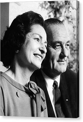 President Lyndon And Lady Bird Johnson Canvas Print by Everett