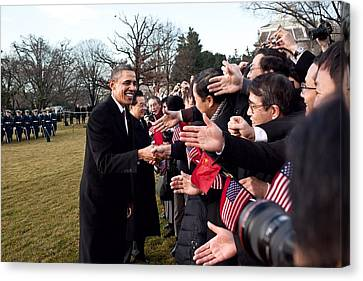 President Obama And Chinese President Canvas Print by Everett