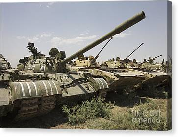 Russian T-54 And T-55 Main Battle Tanks Canvas Print by Terry Moore