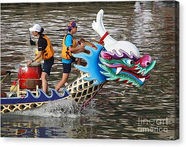 Scene From The Dragon Boat Races In Kaohsiung Taiwan Canvas Print by Yali Shi