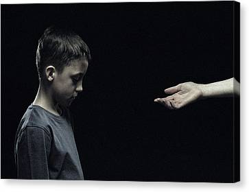 Unhappy Boy Canvas Print by Kevin Curtis
