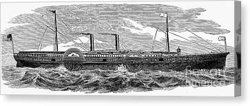 4 Wheel Steamship, 1867 Canvas Print by Granger