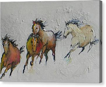 4 Wild Horses Painted Canvas Print