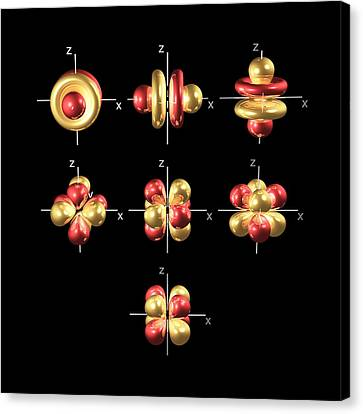 4f Electron Orbitals, Cubic Set Canvas Print by Dr Mark J. Winter