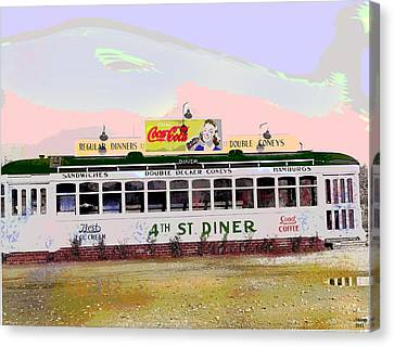 4th Street Diner Canvas Print by Charles Shoup