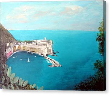 Canvas Print featuring the painting 5 Lands Italy by Larry Cirigliano
