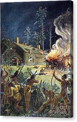 Native American Attack, 1675 Canvas Print by Granger