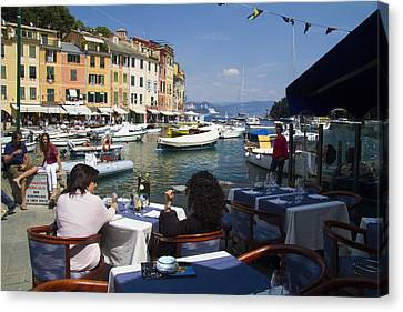 Portofino Cafe Canvas Print - Portofino In The Italian Riviera In Liguria Italy by David Smith