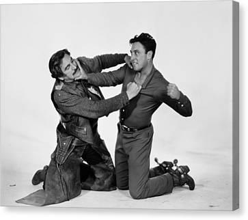 Fistfight Canvas Print - Silent Film Still: Cowboys by Granger