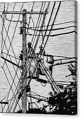 Working On Lines Canvas Print by William Cauthern